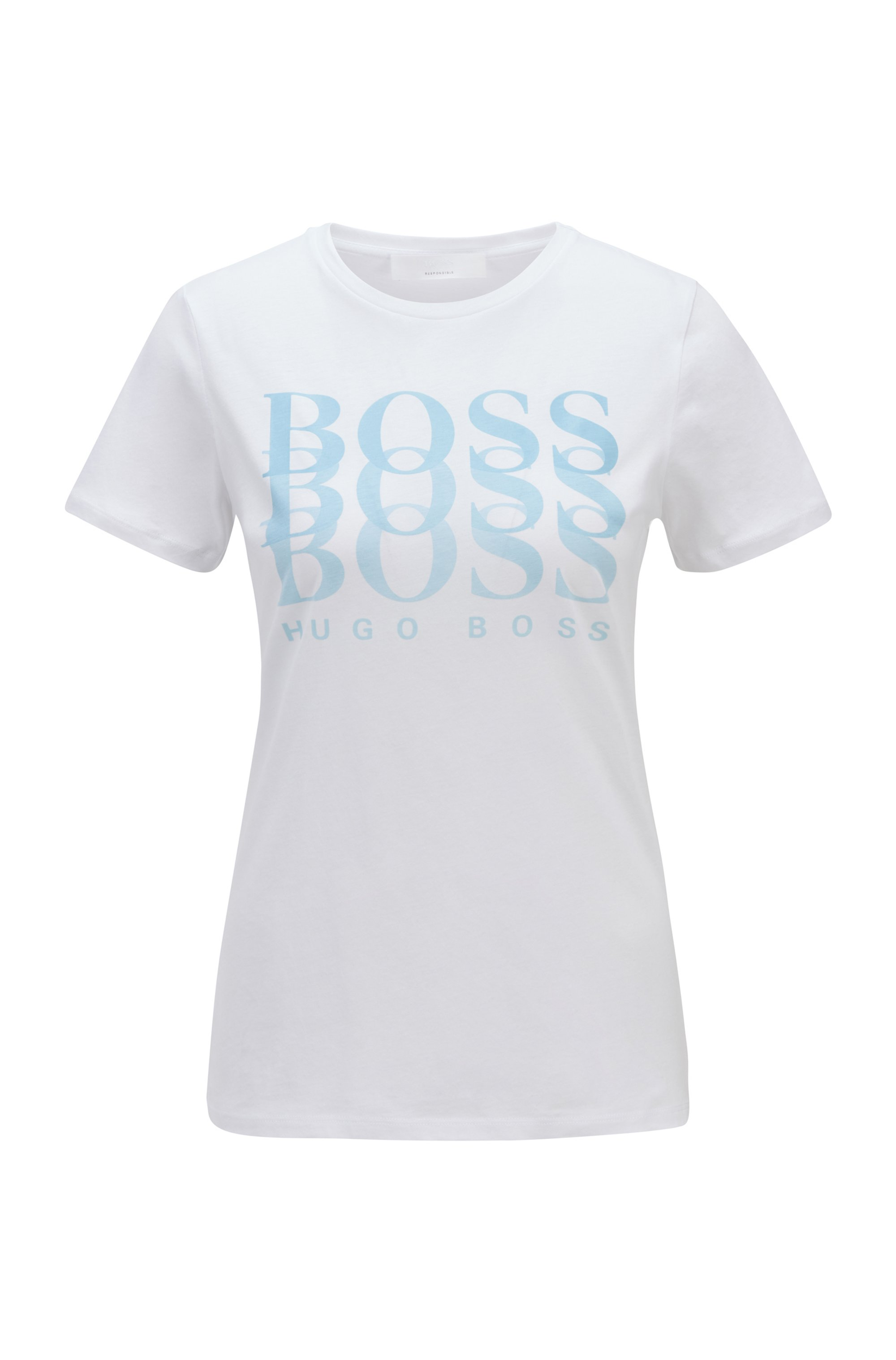 T-Shirt aus Bio-Baumwolle mit Dégradé-Logo, Weiß
