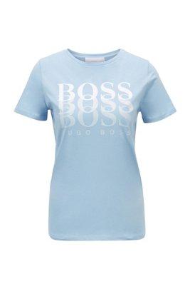 T-Shirt aus Bio-Baumwolle mit Dégradé-Logo, Hellblau