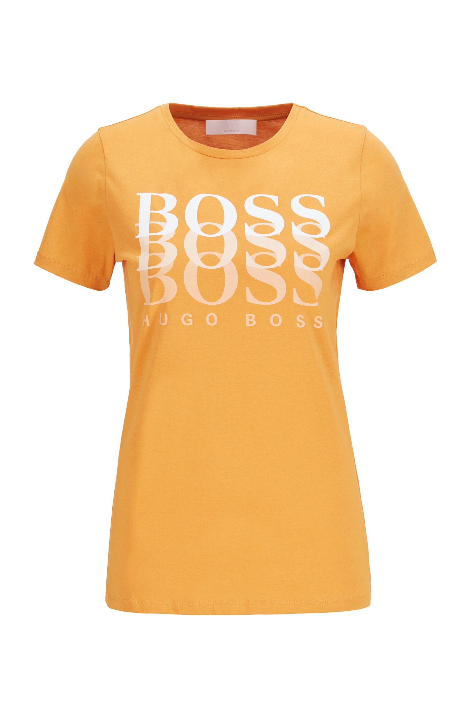 T-shirt Regular Fit en coton biologique avec logo en dégradé, Jaune clair