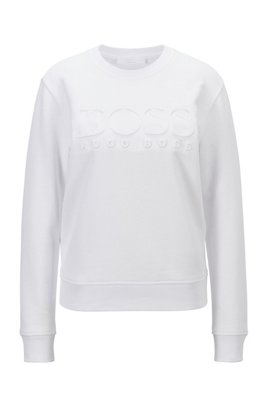 Regular-fit tonal-logo sweatshirt in organic cotton, White