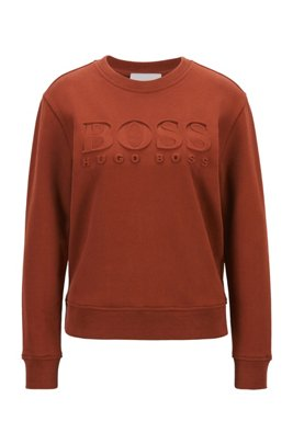 Regular-fit tonal-logo sweatshirt in organic cotton, Brown