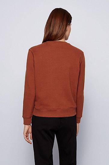 饰以同色徽标的常规版棉质运动衫,  224_铜棕色