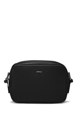 Cross-body grained-leather bag with oval hardware trims, Black