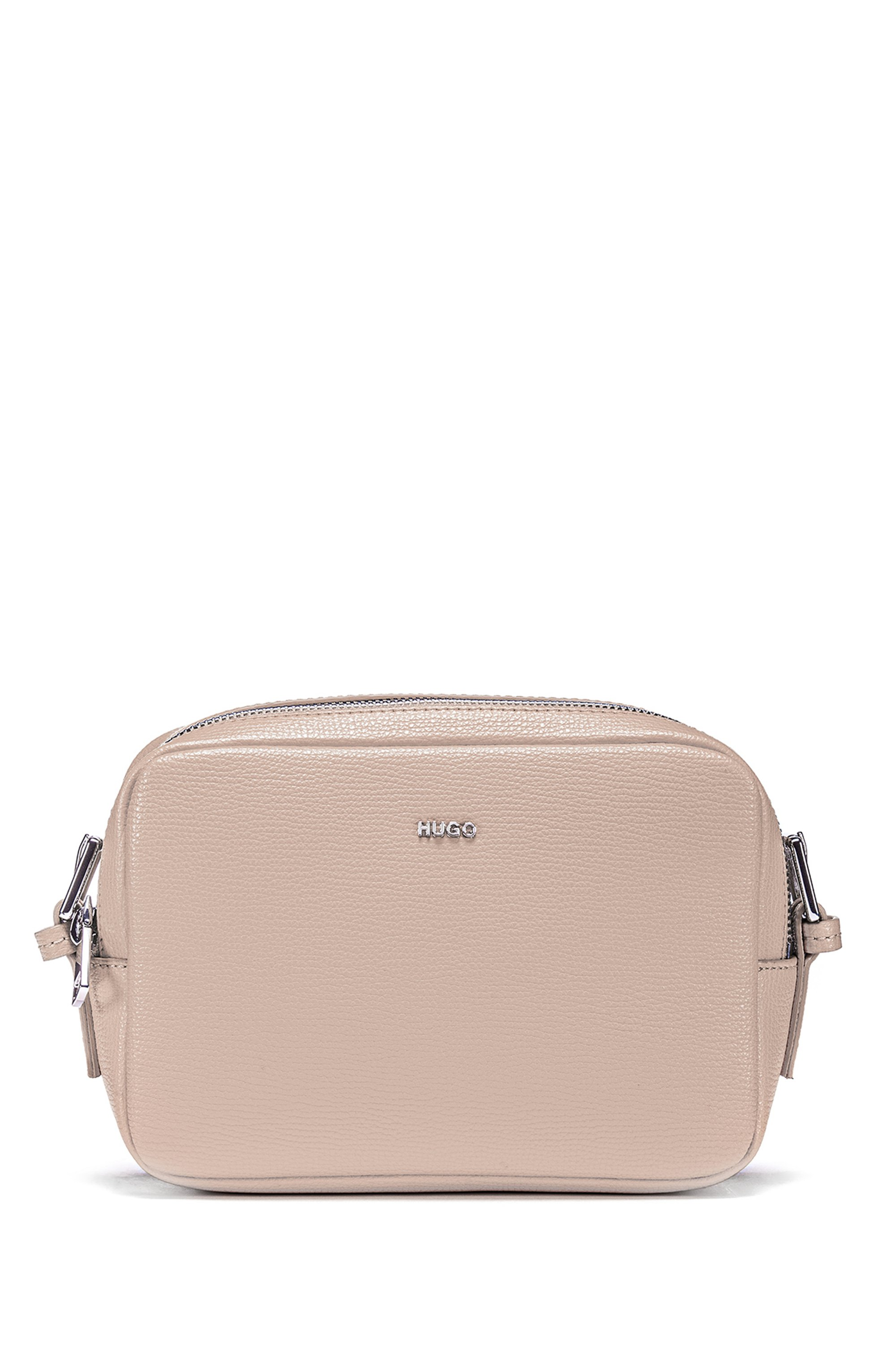 Cross-body grained-leather bag with oval hardware trims, Light Beige