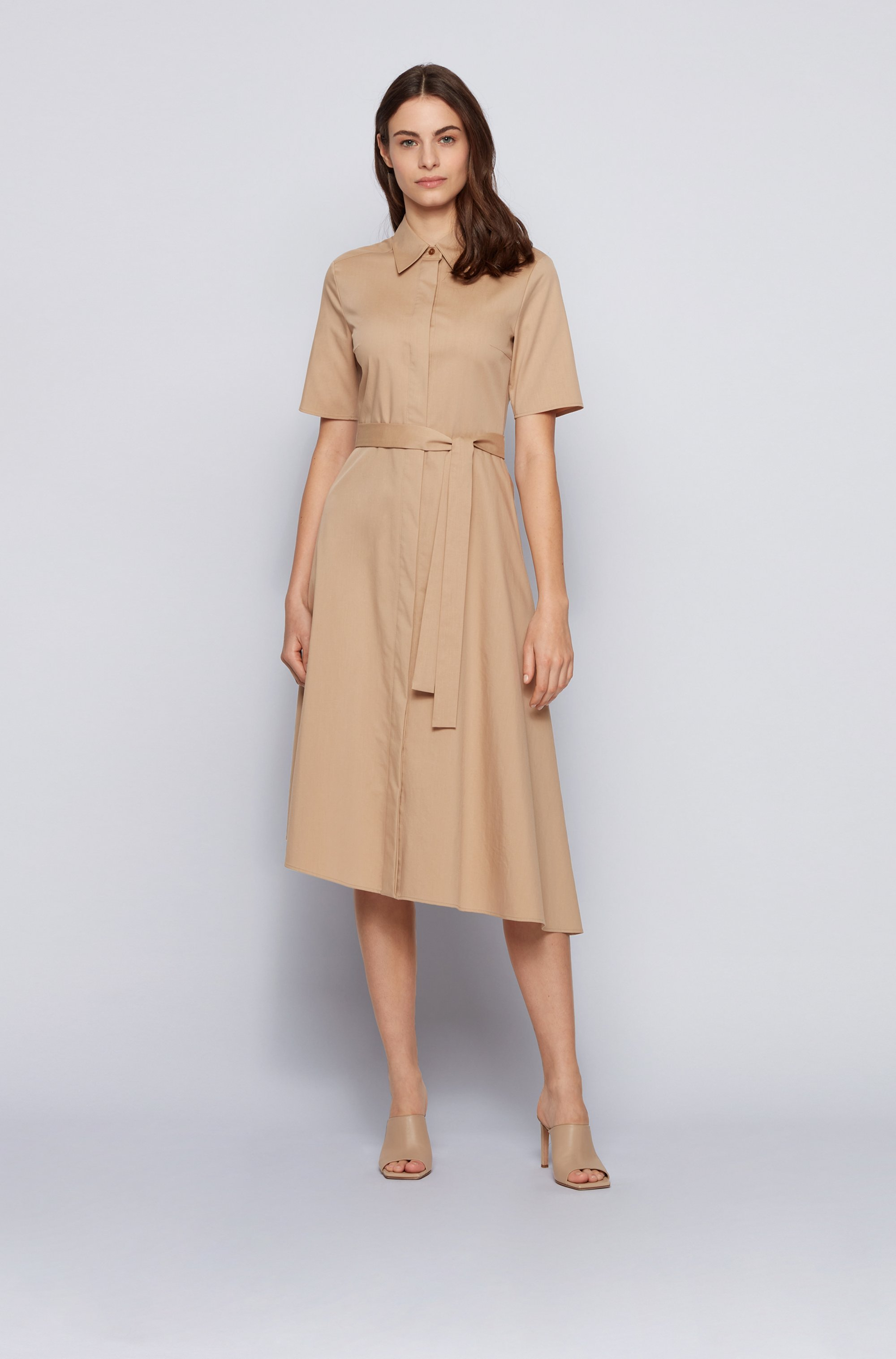 Belted shirt dress in stretch fabric with asymmetric hem