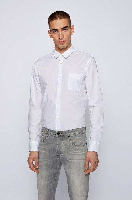 Slim-fit overhemd in een dobby van stretchkatoen, Wit