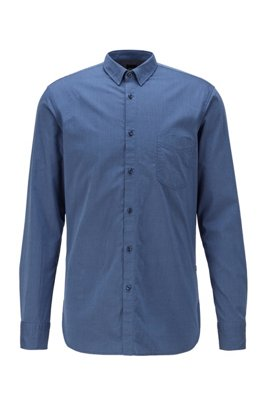 Slim-fit shirt in stretch-cotton dobby, Blue