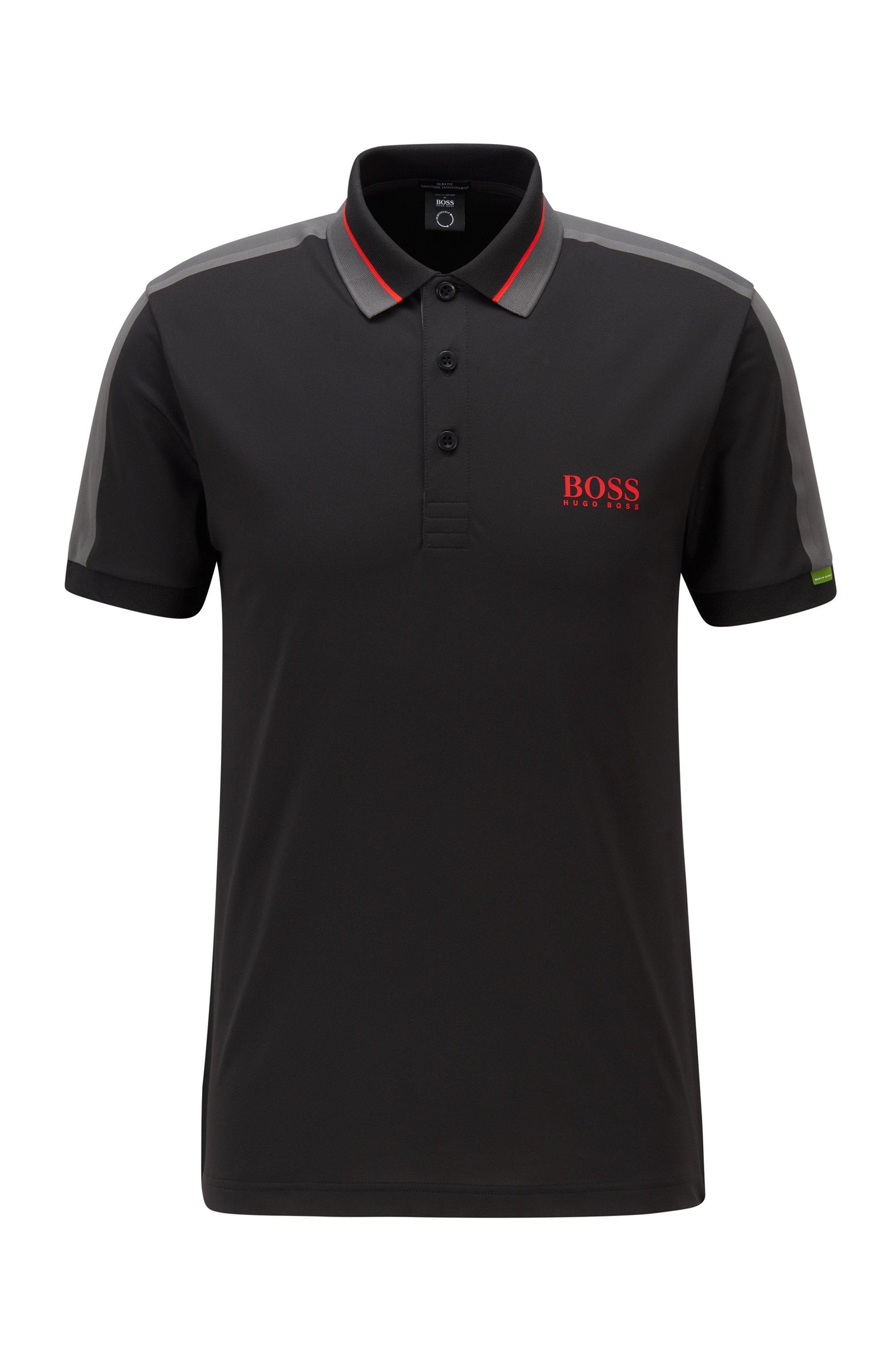 Stretch-piqué slim-fit polo shirt with striped collar, Black