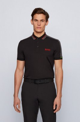 Stretch-piqué slim-fit polo shirt with striped collar, Black