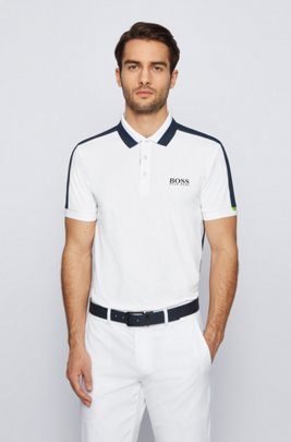 Stretch-piqué slim-fit polo shirt with striped collar, White