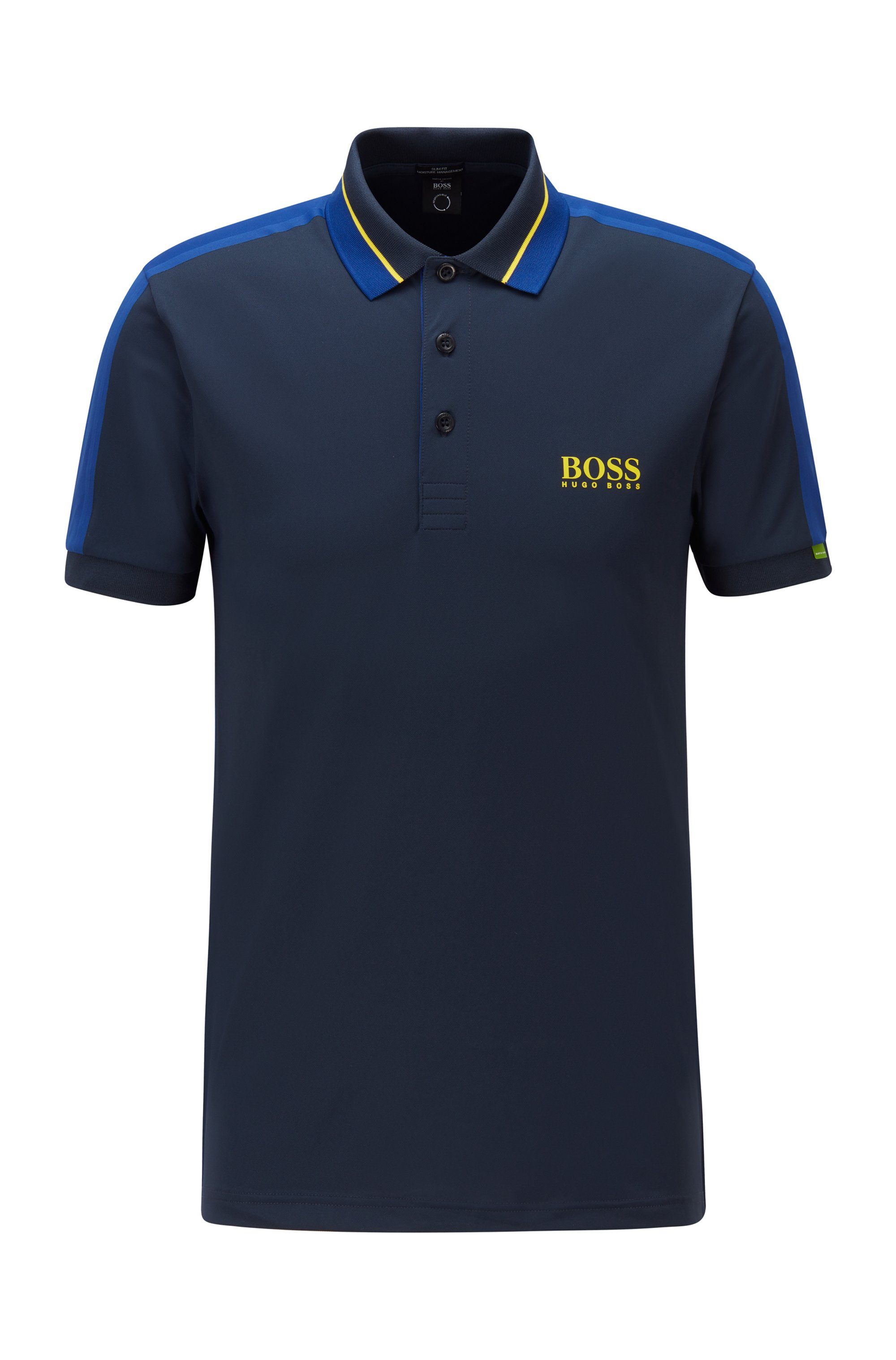 Stretch-piqué slim-fit polo shirt with striped collar, Dark Blue