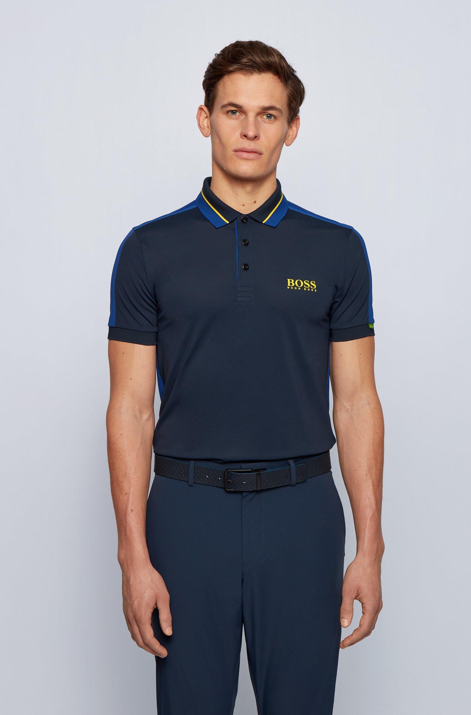 Stretch-piqué slim-fit polo shirt with striped collar, Dark Blue