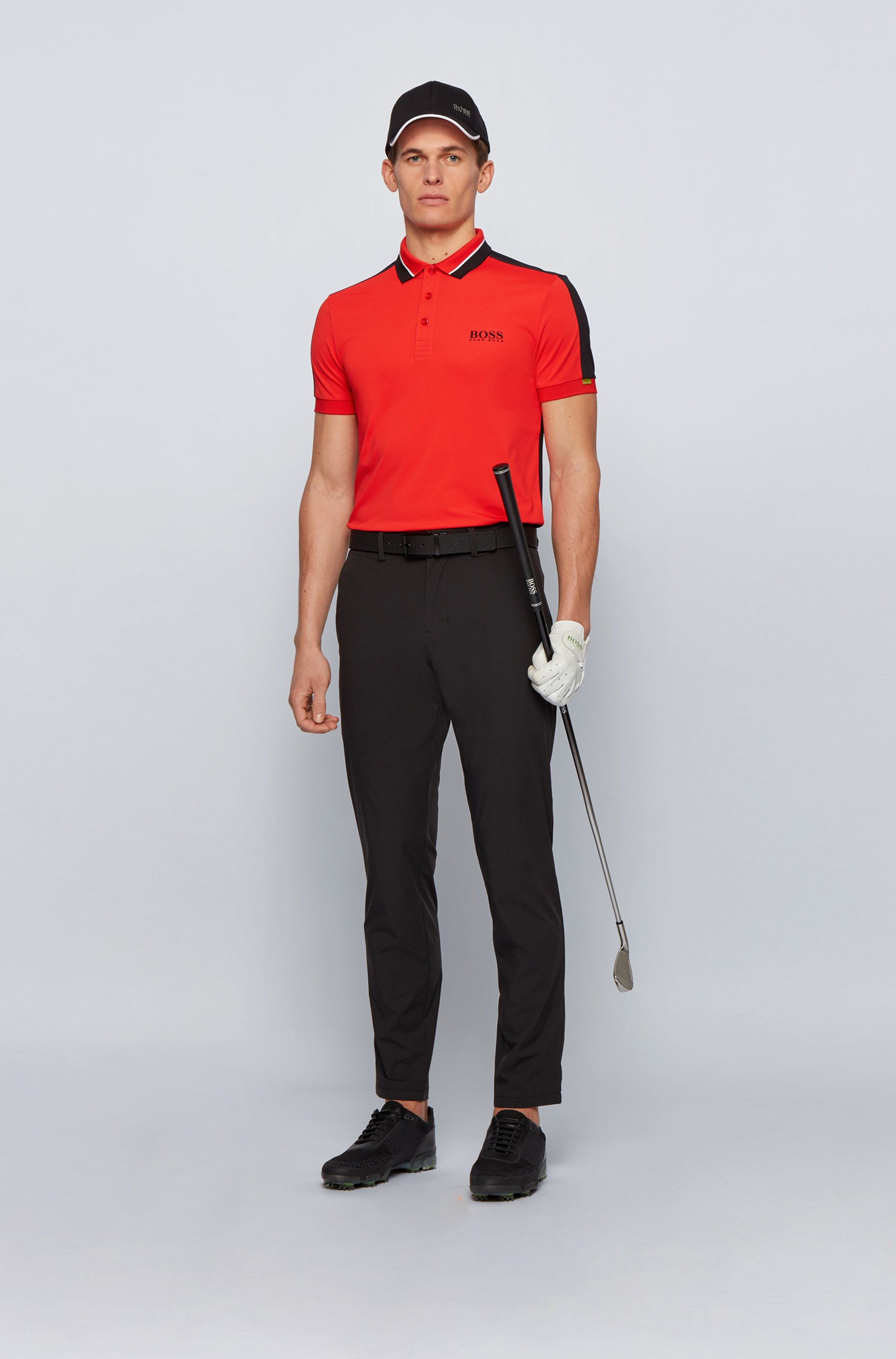 Stretch-piqué slim-fit polo shirt with striped collar