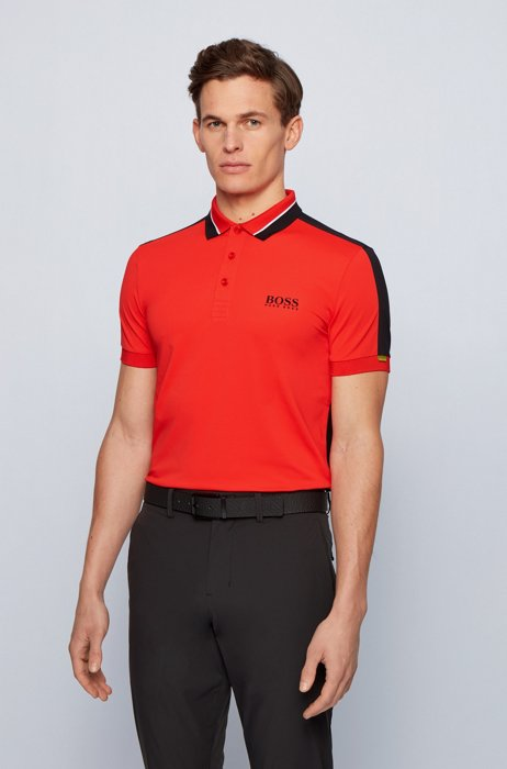 Stretch-piqué slim-fit polo shirt with striped collar, Red