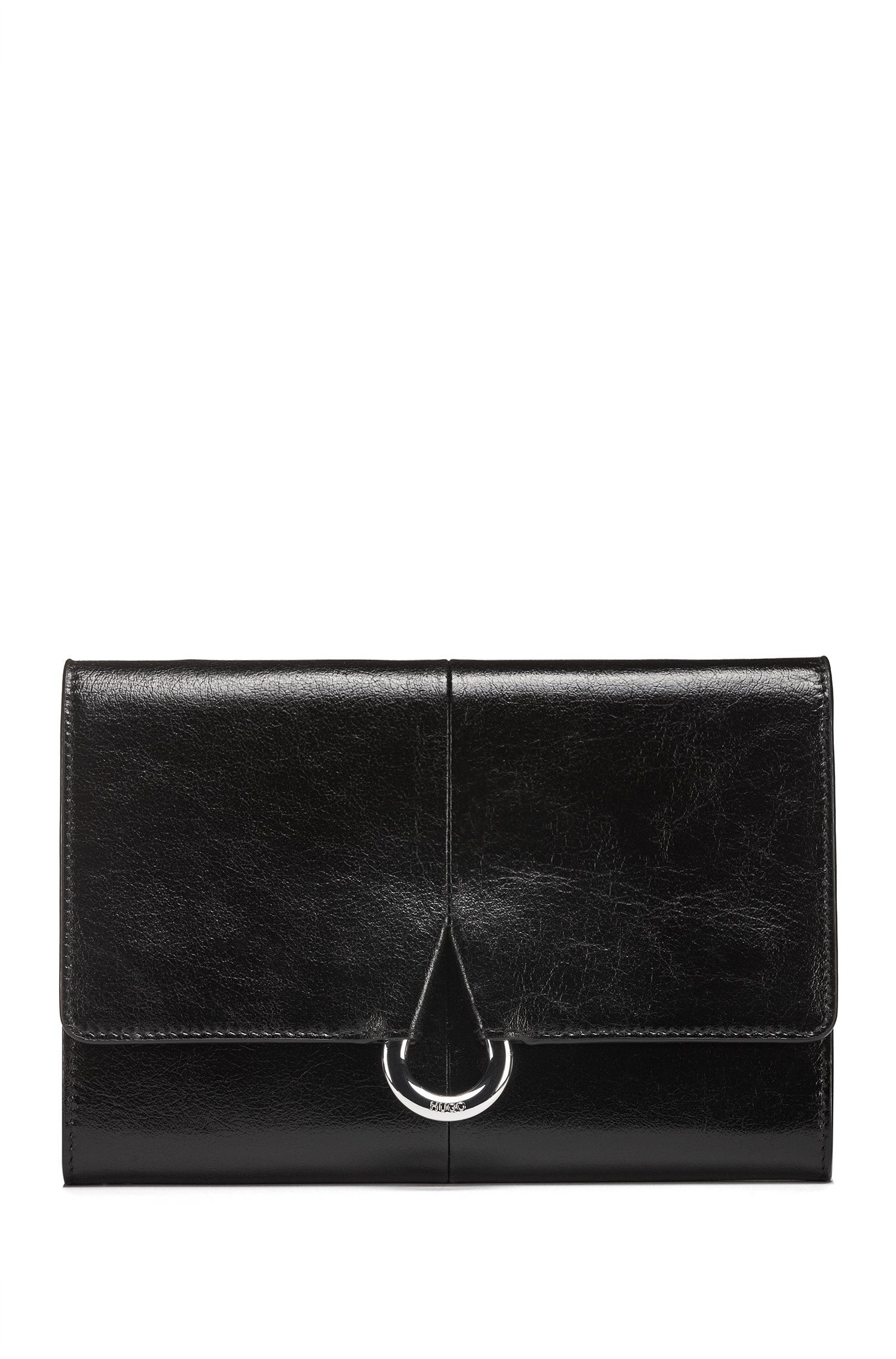 Leather clutch bag with teardrop-shaped hardware, Black