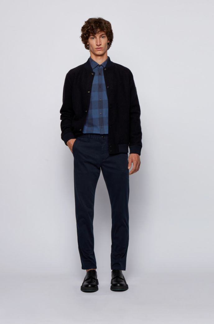 Slim-fit checked shirt in jacquard-woven cotton