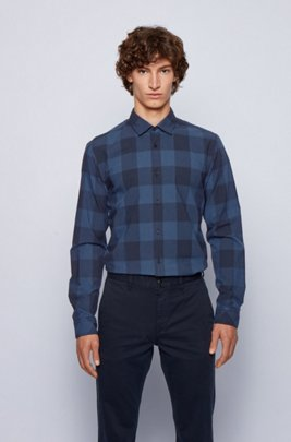 Slim-fit checked shirt in jacquard-woven cotton, Blue Patterned