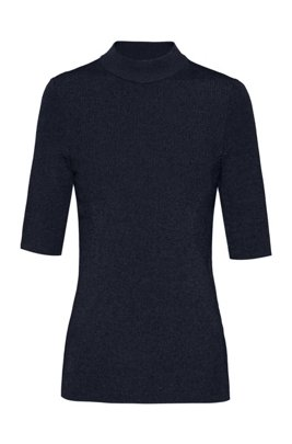 Short-sleeved slim-fit sweater in lustrous stretch fabric, Black