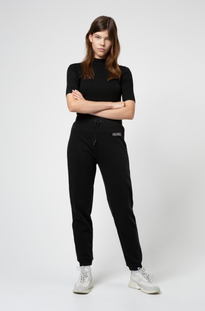 Short-sleeved slim-fit sweater in lustrous stretch fabric