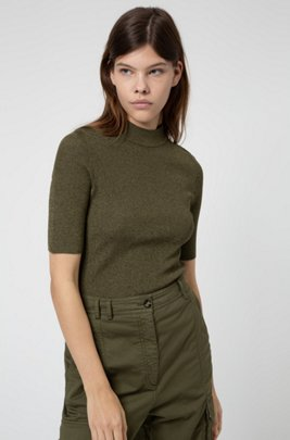 Short-sleeved slim-fit sweater in lustrous stretch fabric, Khaki