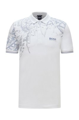 Slim-fit polo shirt with botanical print, White