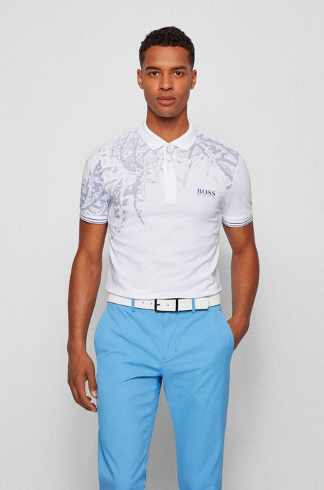 Slim-fit polo shirt with botanical print, White