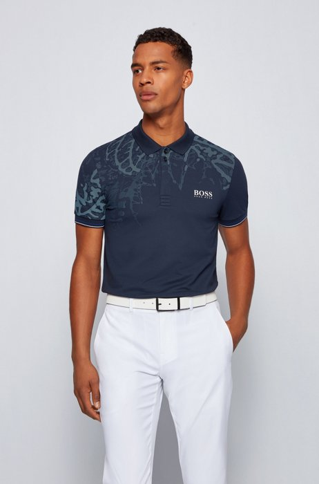 Slim-fit polo shirt with botanical print, Dark Blue