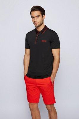 Slim-fit polo shirt with mesh collar, Black