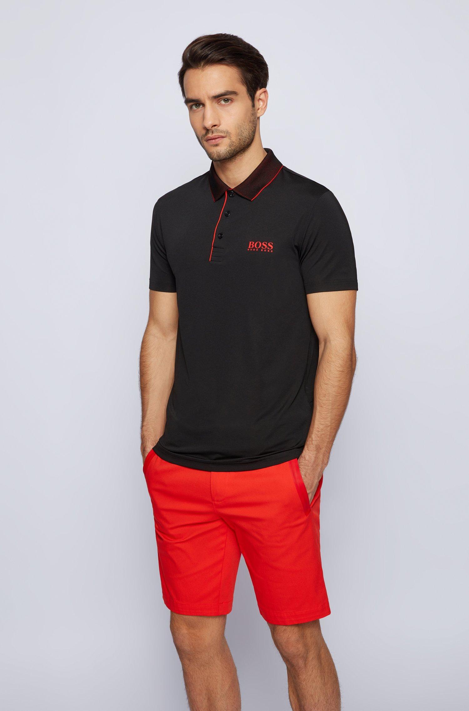 Polo Slim Fit avec col en mesh, Noir