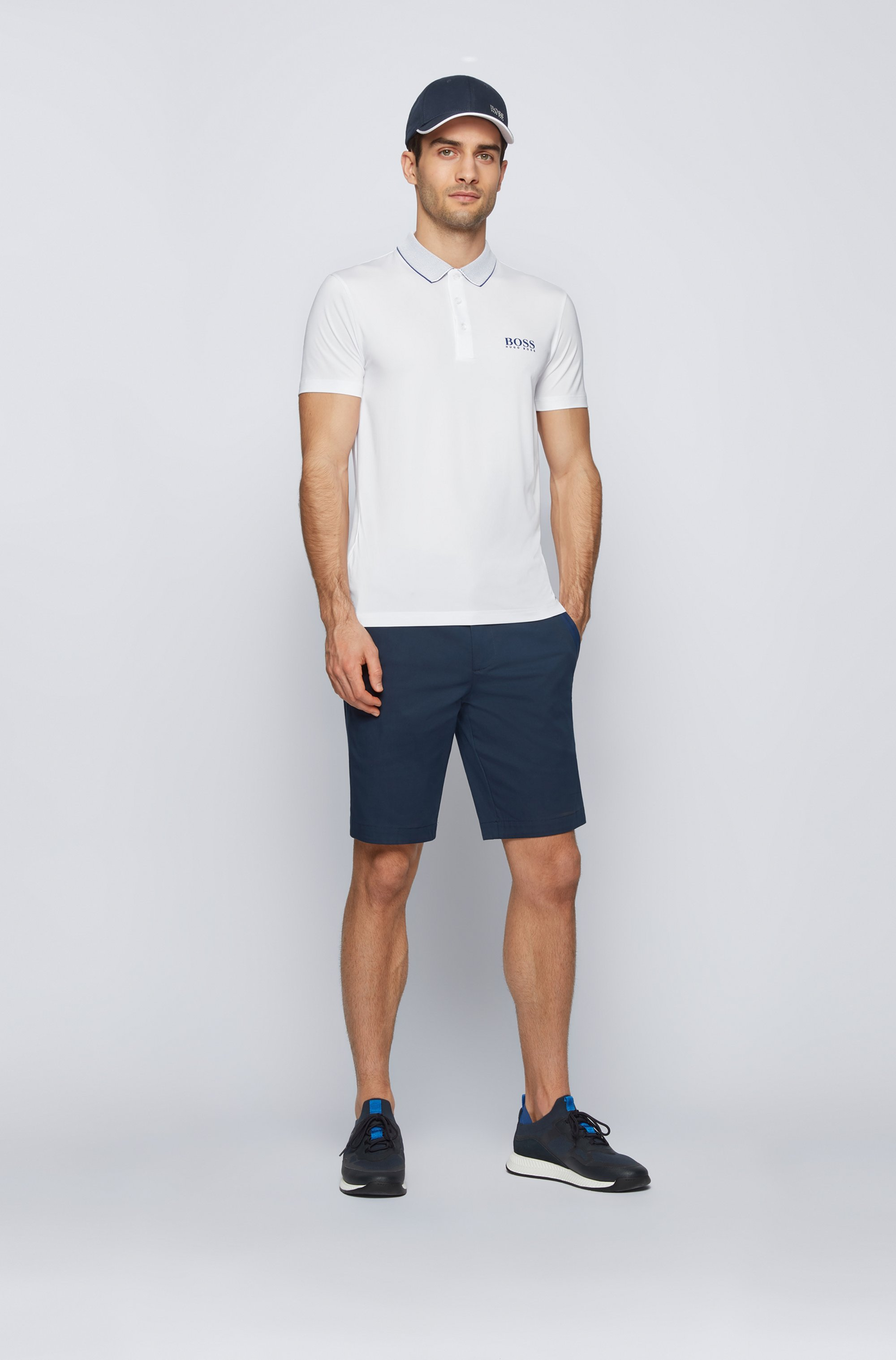 Slim-fit polo shirt with mesh collar