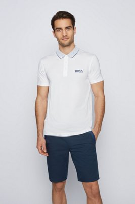 Slim-fit polo shirt with mesh collar, White
