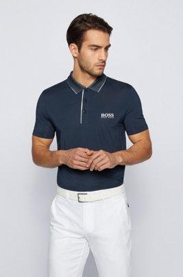 Slim-fit polo shirt with mesh collar, Dark Blue