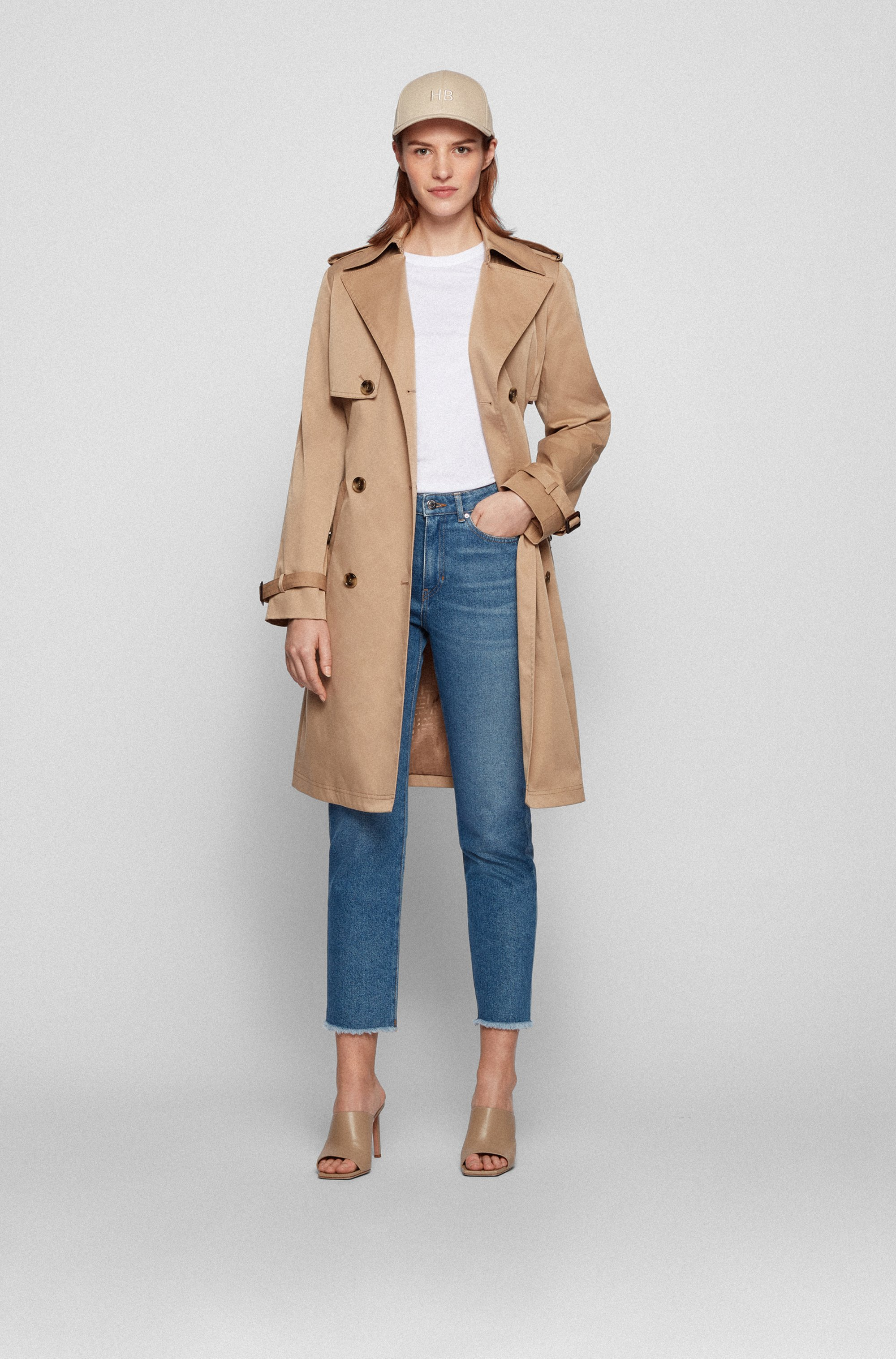 Belted trench coat in water-repellent twill
