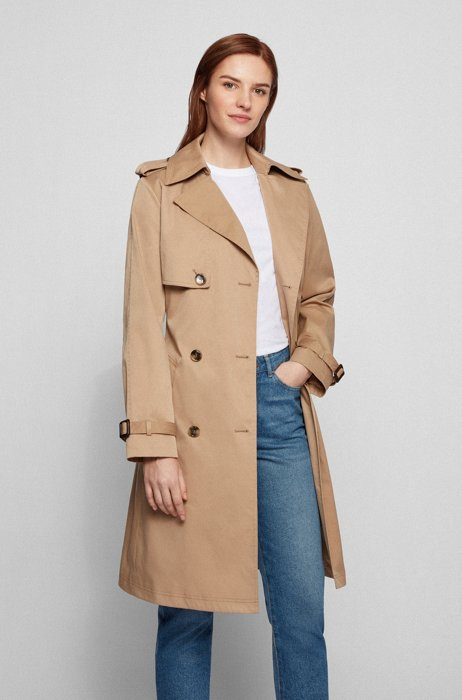 Belted trench coat in water-repellent twill, Beige