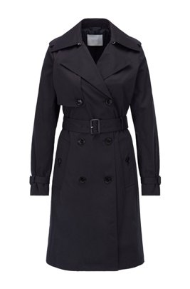 Belted trench coat in water-repellent twill, Light Blue