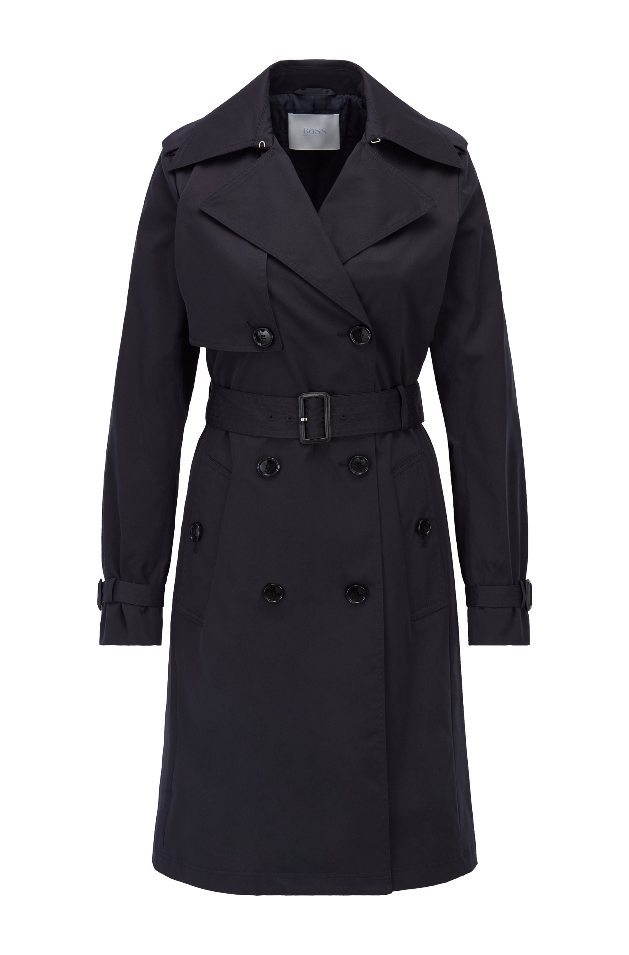 Belted trench coat in water-repellent twill, Dark Blue