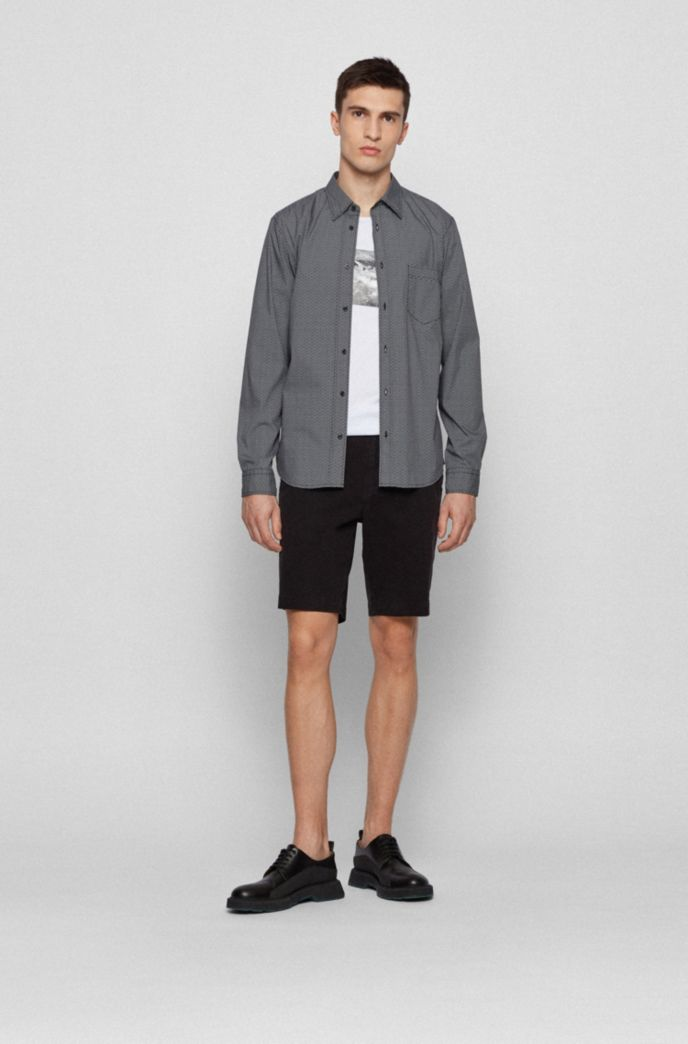 Slim-fit shirt in a geometric-print cotton blend