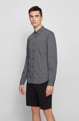 Slim-fit shirt in a geometric-print cotton blend, Dark Grey