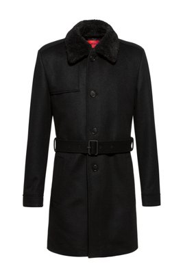 Wool-blend slim-fit trench coat with detachable teddy collar, Black