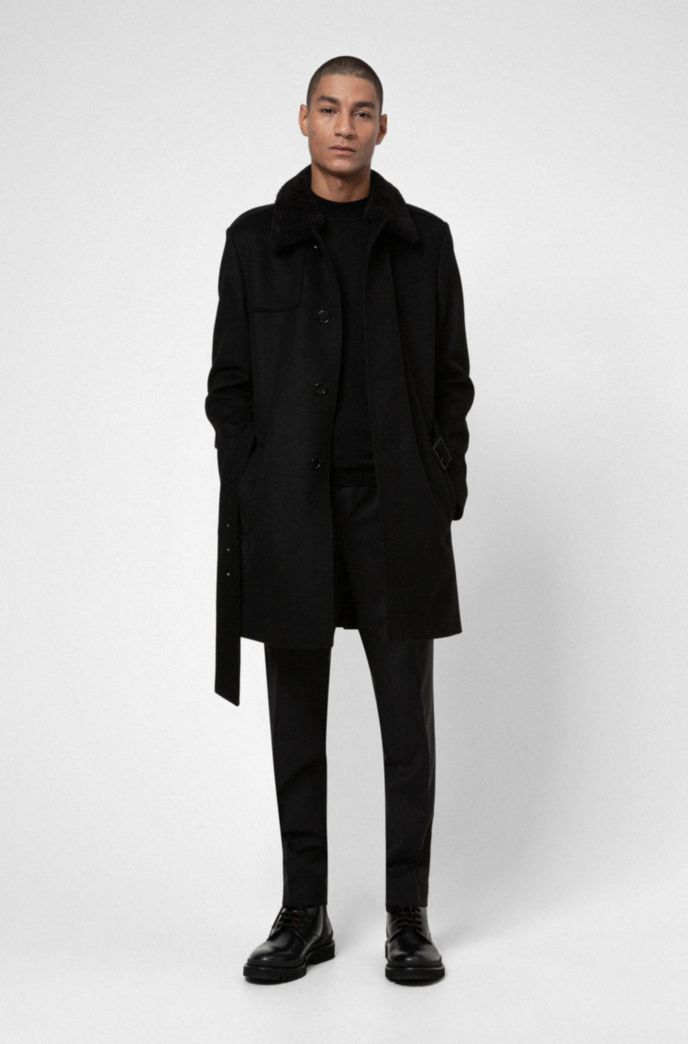 Wool-blend slim-fit trench coat with detachable teddy collar