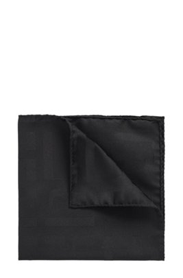 Italian-made pocket square in silk with monogram print, Black