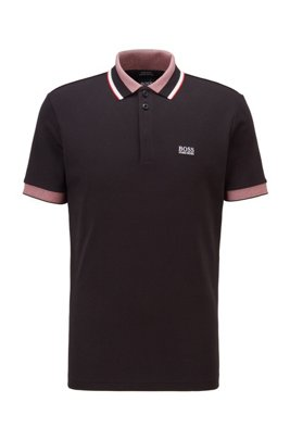 Cotton logo polo shirt with three-coloured stripes, Black