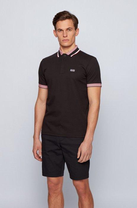 Polo en coton à logo avec rayures tricolores, Noir