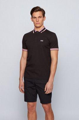 Cotton logo polo shirt with three-coloured stripes, Black