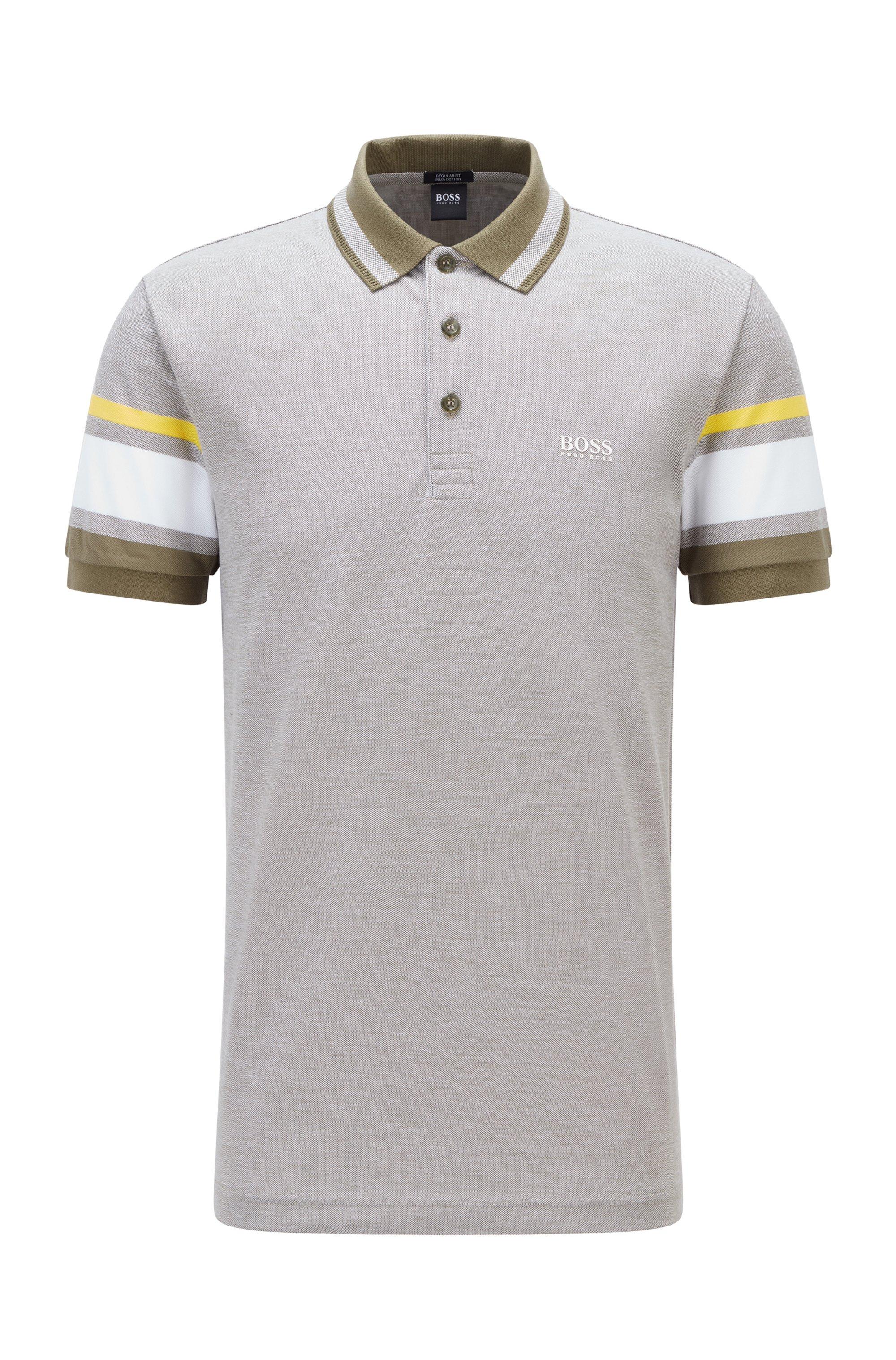 Pima-cotton polo shirt with sleeve stripes, Green