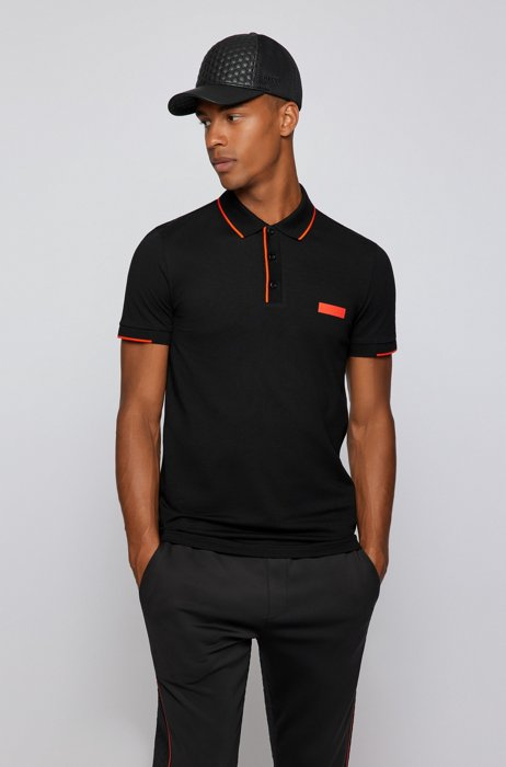 Slim-fit polo shirt in S.Café® fabric, Black
