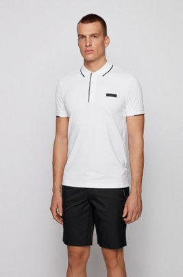 Slim-fit polo shirt in S.Café® fabric, White