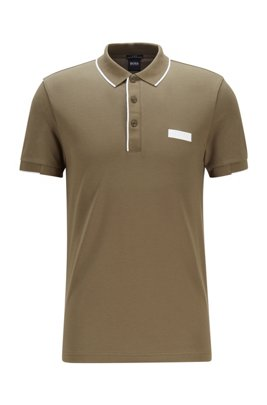 Slim-fit polo shirt in S.Café® fabric, Beige