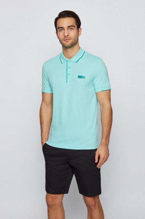 Slim-fit polo shirt in S.Café® fabric, Light Blue