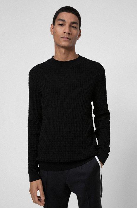 Jersey de cuello medio en algodón con estructura integral, Negro